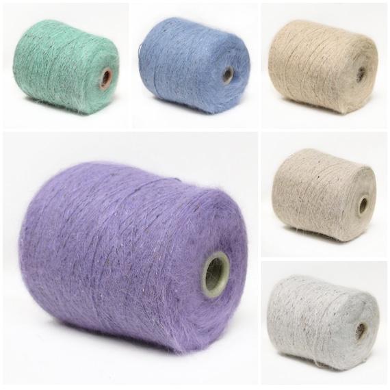 Angora rabbit yarn on cone, fingering/sock weight yarn for knitting, weaving and crochet, per 25g