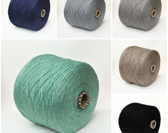 Cotton/silk/cashmere yarn on cone, sock weight yarn for knitting, weaving and crochet, per 100g