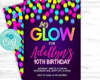 Glow birthday invitation Girl birthday invitation Neon Glow in the dark Party 10th Rainbow Birthday EDITABLE invitation (LTI005)