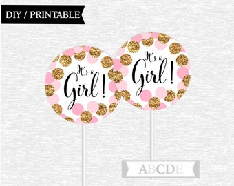 Pink Glitter Gold Polka Dots Girl Baby Shower Cupcake Toppers Its A DIY Printable CON201