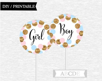 Pink Blue Glitter Gold Confetti Gender Reveal Party Baby Shower Cupcake Toppers DIY Printable CON208