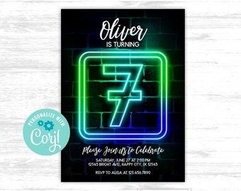 Boy 7th birthday invitation Neon Glow in the dark Party 7th Neon Green Blue Birthday EDITABLE invitation (GLW004)