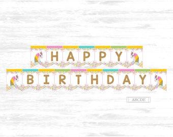 Unicorn Birthday Banner Happy Birthday Banner Magical Celebration Printable Banner Instant Download Printable (UNI002)