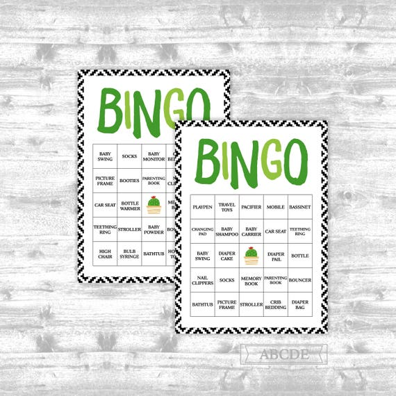 Instant Download Cactus Baby Shower Game Traditional Bingo 30
