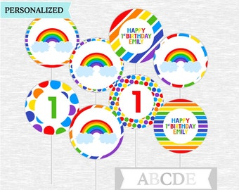 Personalized Rainbow party Cupcake Toppers Party Decoration PRINTABLE DIY ( PDSSD030 )