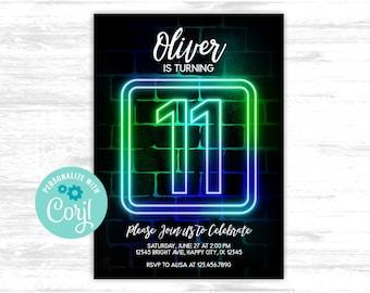 Boy 11th birthday invitation Neon Glow in the dark Party 11th Neon Green Blue Birthday EDITABLE invitation (GLW004)