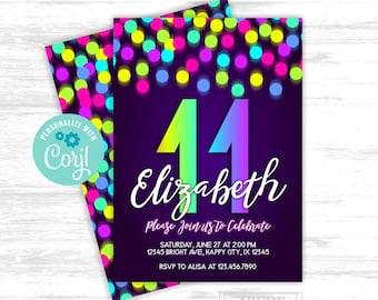 Girl birthday invitation Neon Glow in the dark Party 11th Rainbow Birthday EDITABLE invitation (LTI005)