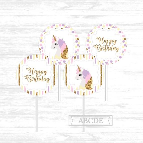 Unicorn Birthday Cupcake Toppers Happy DIY