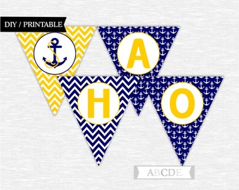 Instant Download Yellow and Navy Ahoy  Its a Boy Banner Nautical baby Shower DIY Printable (PDN014)