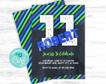 11th boy birthday invitation EDITABLE invitation (TEB001)
