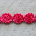 1 Yard Hot Pink Petite Shabby Chiffon Flower Rose Trim - Flower Trim for Headbands and DIY supplies
