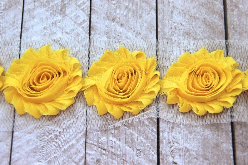 1/2 Yard Shabby Chiffon Flower Trim in Yellow  Flower Trim image 0