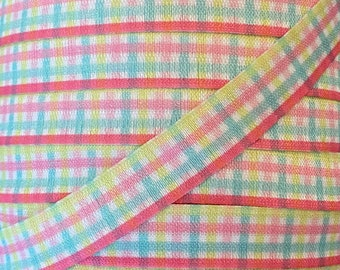 """5/8"""" Pastel Plaid Print Fold Over Elastic, pink, yellow and blue- Elastic for Baby Headbands and Hair Ties -  5/8 inch Printed FOE"""