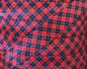"""5/8"""" Christmas Plaid Print Fold Over Elastic in red and black- Elastic for Baby Headbands and Hair Ties -  5/8 inch Printed FOE"""