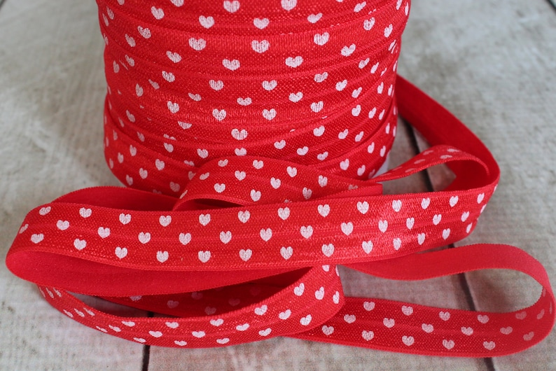 5 Yards 58 inch Printed FOE Red Heart Print Fold Over Elastic Elastic for Baby Headbands and Hair Ties