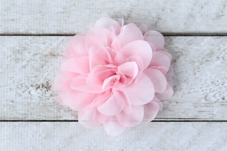 5 inch Chiffon Mesh Flower in Pale Pink  Flower Head for image 0