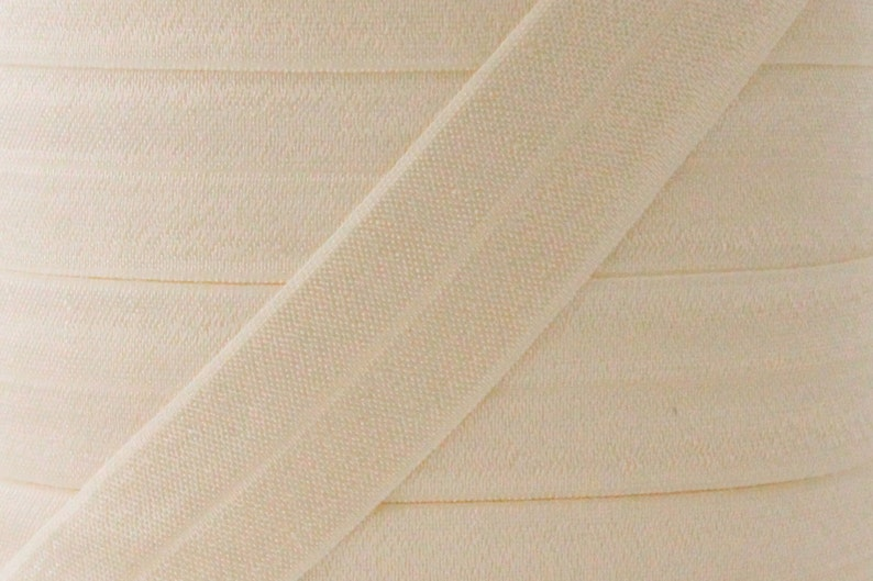 5 YARDS One Inch Ivory Fold Over Elastic  Ivory 1 image 0