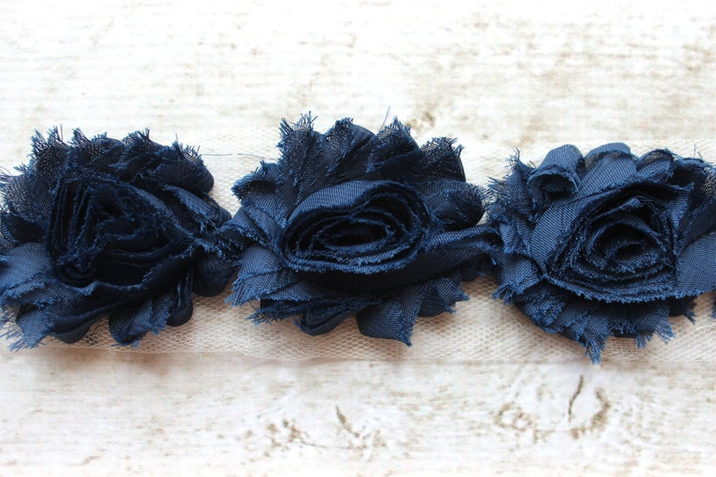 1/2 Yard Shabby Chiffon Flower Trim in Navy  Flower Trim for image 0