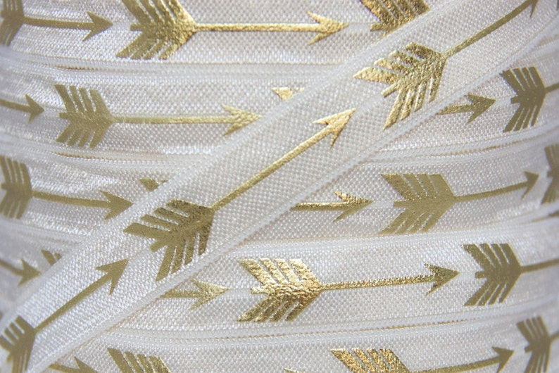 Black and Gold Metallic Arrow Print Fold Over Elastic 5 Yards 58 inch Printed FOE Elastic for Baby Headbands and Hair Ties