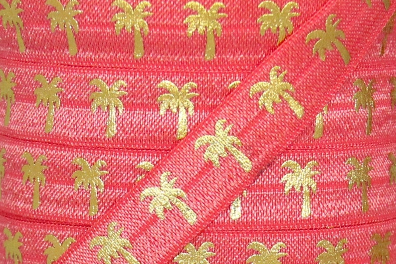 Elastic for Baby Headbands and Hair Ties 5 Yards 58 inch Printed FOE Watermelon and Gold Metallic Palm Tree Print Fold Over Elastic