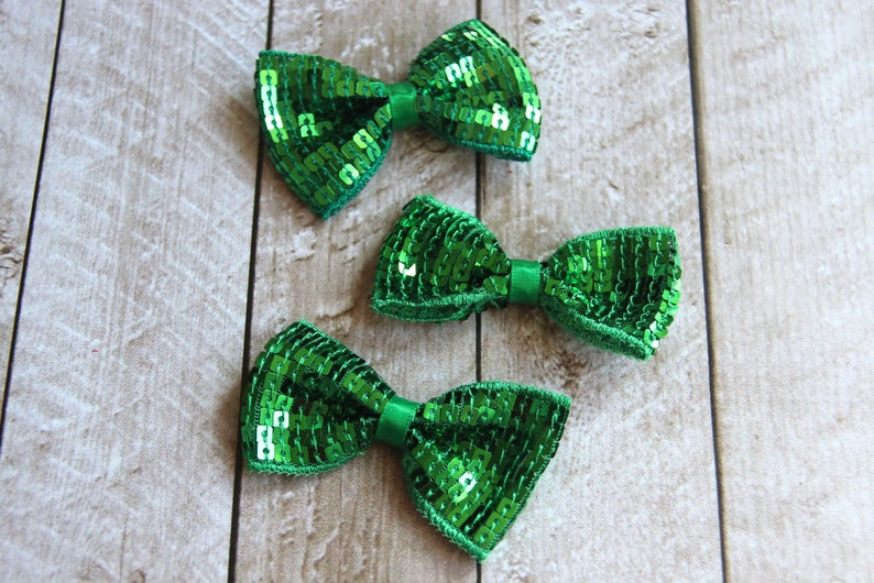 Set of 3 2.75 Emerald Green Sequin Bow Ties  For DIY image 0