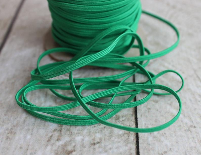 Emerald Green Skinny Elastic 1/8 inch  Elastic For Baby image 0