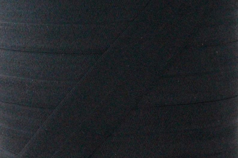 5 YARDS One Inch Black Fold Over Elastic  Black 1 image 0