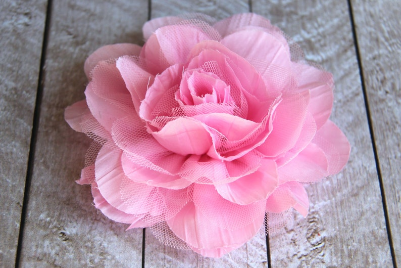 5.5 inch LARGE Crinkle Chiffon & Lace Flower in Pink  Flower image 0