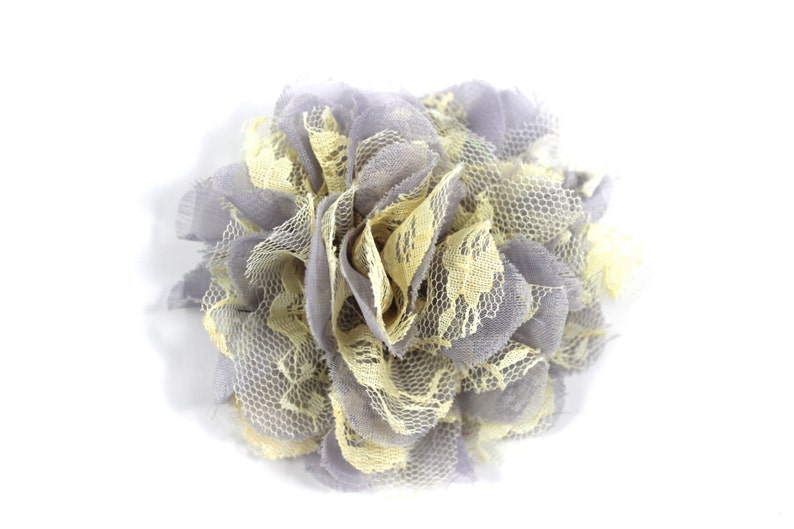 3.75 inch Chiffon Lace Flower in Gray & Pale Yellow  Flower image 0