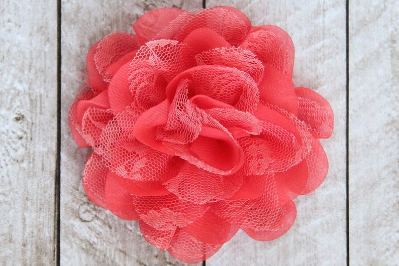 3.75 inch Chiffon Lace Flower in Coral  Flower Head for image 0