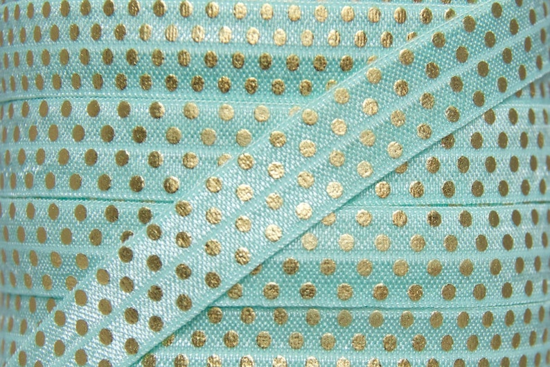 Aqua and Gold Metallic Polka Dot Print Fold Over Elastic  image 0