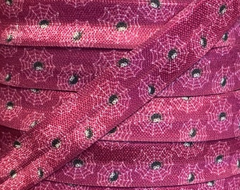Halloween Purple with Spiders  Fold Over Elastic - Elastic for Baby Headbands and Hair Ties - 5 Yards 5/8 inch Printed FOE
