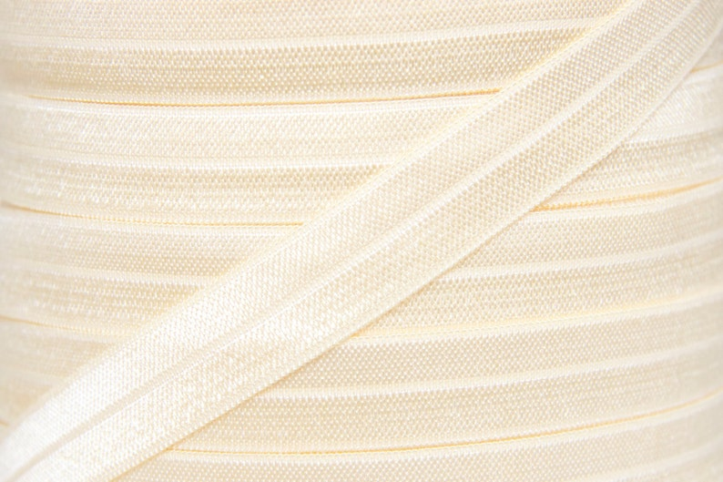Ivory Fold Over Elastic  Elastic For Baby Headbands and Hair image 0