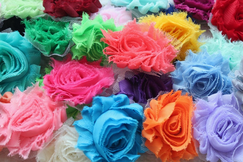 Chiffon Shabby Flowers  20 Assorted Single Flowers  Grab Bag image 0