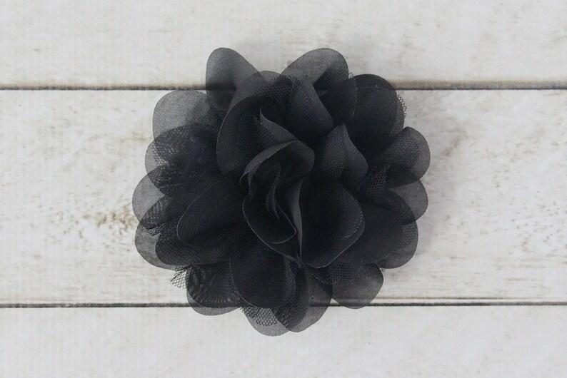 5 inch Chiffon Mesh Flower in Black  Flower Head for image 0