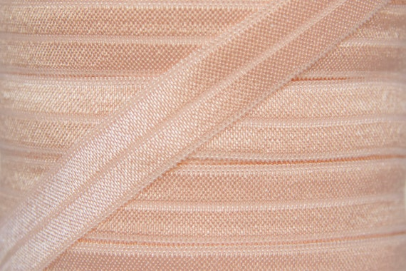 "3 yards Petal peach 5//8/"" fold over elastic FOE DIY baby headbands /& hair ties"