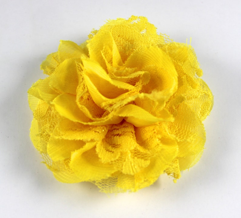 3.75 inch Chiffon Lace Flower in Yellow  Flower Head for image 0