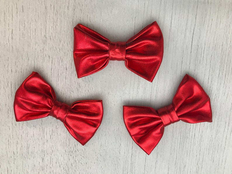 Set of 3 3 Shiny Metallic Red Bows  3 inch bows  image 0