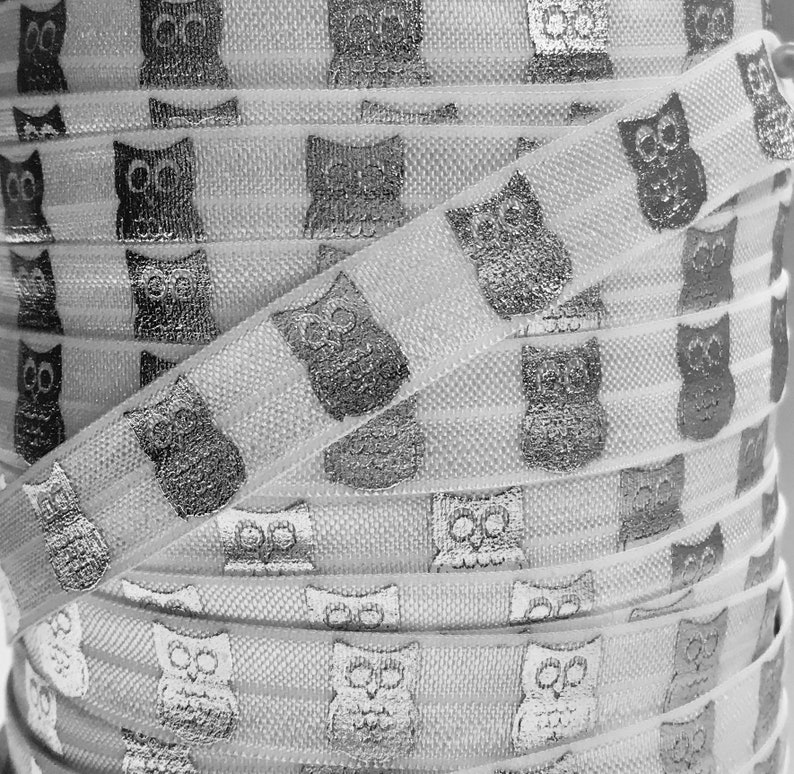 1 or 5 Yards of Printed FOE Elastic for Baby Headbands and Hair Ties 58 White and Silver Metallic Owl Print Fold Over Elastic