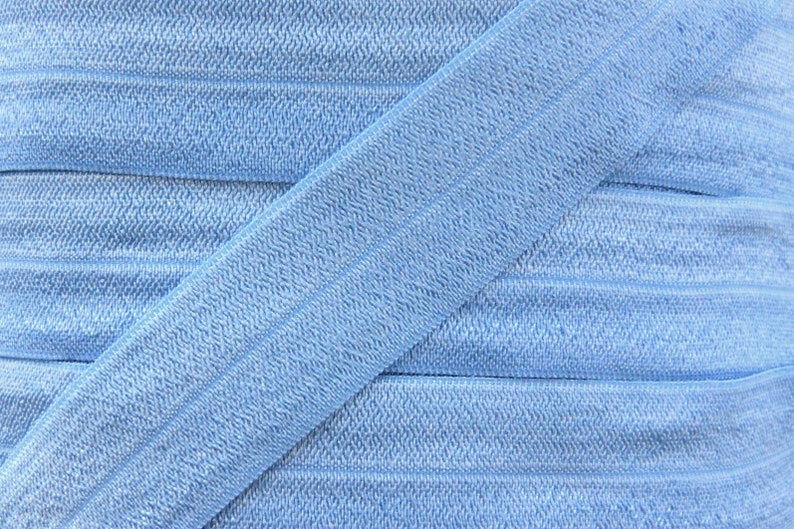 5 YARDS One Inch French Blue Fold Over Elastic  French Blue image 0