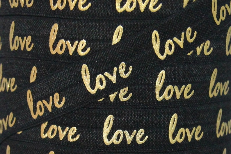 Black and Gold Metallic love Print Fold Over image 0