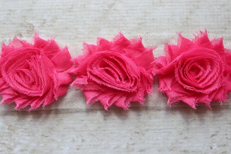 1/2 Yard Shabby Chiffon Flower Trim in Hot Pink  Flower Trim image 0