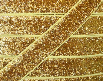 """5/8"""" Gold Glitter Elastic - Elastic For Baby Headbands and Hair Ties - 1 or 5 Yard Lengths"""