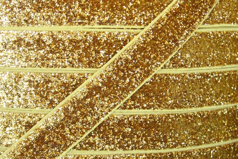 Gold 5/8 inch Glitter Elastic  Elastic For Baby Headbands and image 0