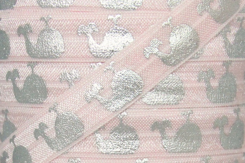 5 Yards 58 inch Printed FOE Elastic for Baby Headbands and Hair Ties Light Pink and Silver Metallic Whale Print Fold Over Elastic