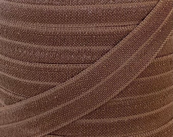 """5/8"""" Chocolate Chip Brown Fold Over Elastic - Elastic For Baby Headbands, Sewing and Hair Ties - 1, 5 or 10 yard lengths - 5/8 inch FOE"""