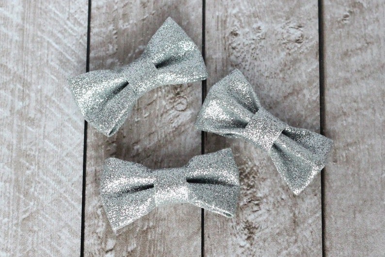 Set of 3 2.5 Silver Structured Glitter Bows  For DIY image 0