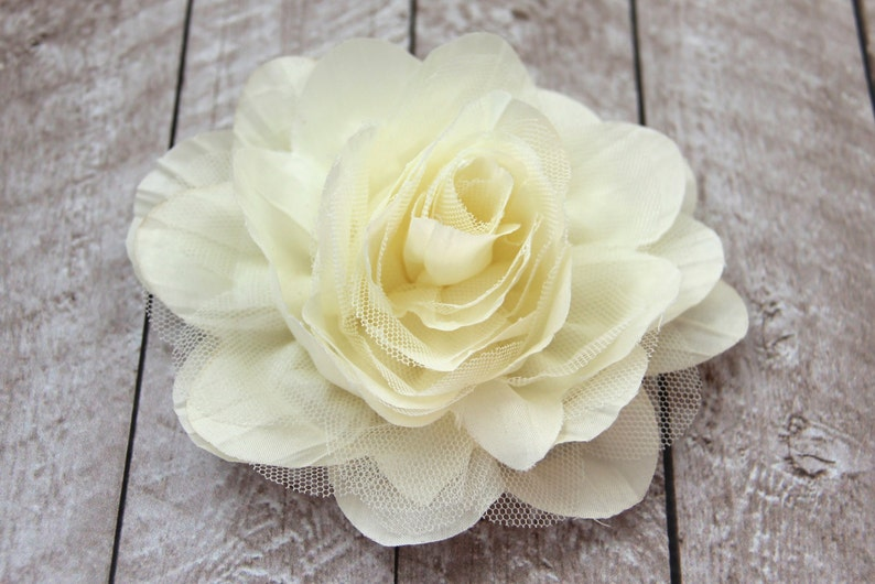 5.5 inch LARGE Crinkle Chiffon & Lace Flower in Ivory  Flower image 0