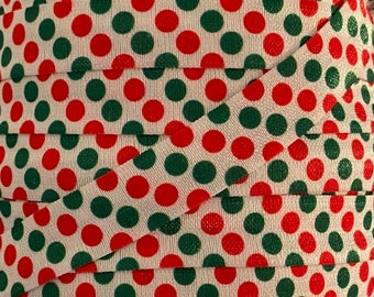 """5/8"""" Green and Red Dot Print Fold Over Elastic in red, white and green- Elastic for Baby Headbands, sewing or Hair Ties-5/8 inch Printed FOE"""