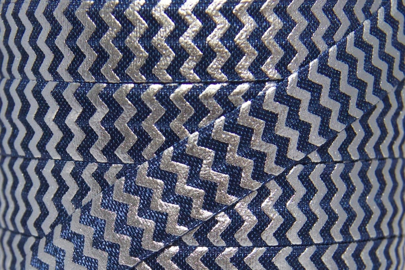 Navy Blue & Silver Foil Metallic Chevron Fold Over Elastic  image 0